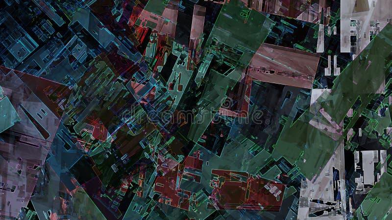 Fondo variopinto di tecnologia della città di struttura del modello geometrico futuristico urbano astratto della pittura illustrazione di stock