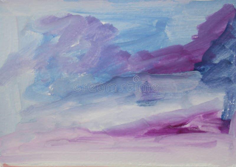 Fondo variopinto strutturato dell'estratto dell'acquerello con i colpi lilla, blu e blu scuro illustrazione di stock