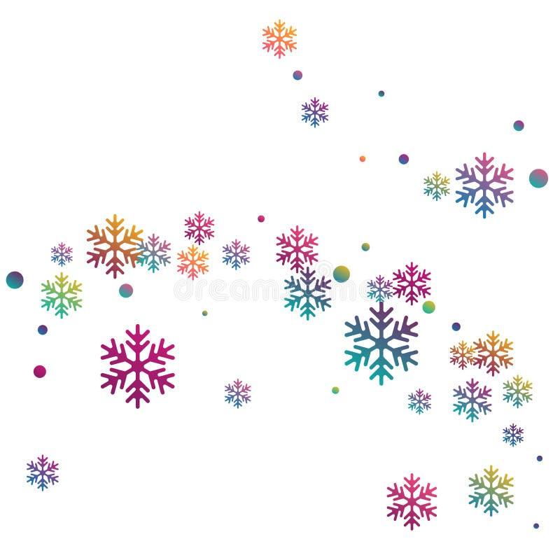 Fondo variopinto volante dei fiocchi della neve di pendenza illustrazione di stock