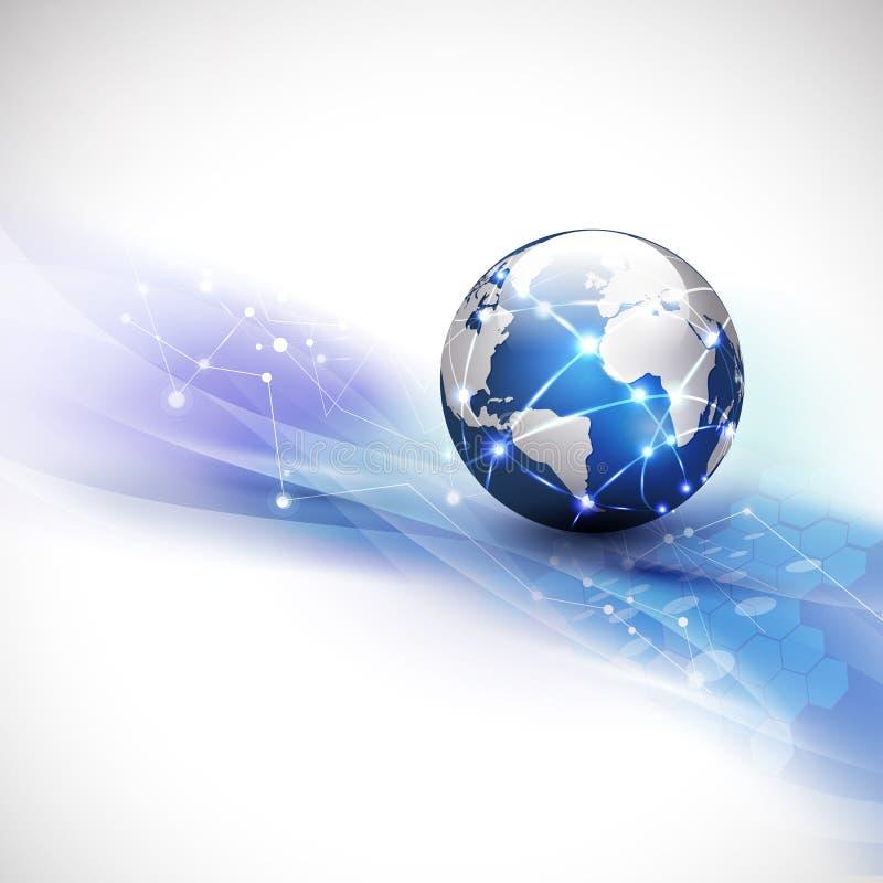 Fondo, vector y ejemplo del flujo de la comunicación de la red del mundo y del movimiento del concepto de la tecnología stock de ilustración