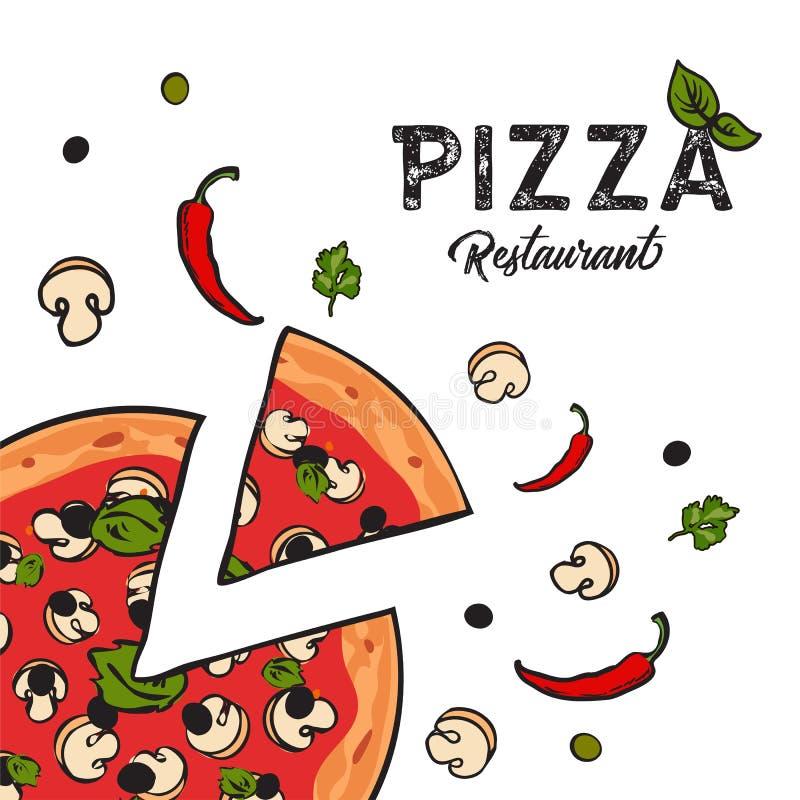 Fondo vegetariano delicioso de la pizza con queso, las setas, el chile y las aceitunas libre illustration
