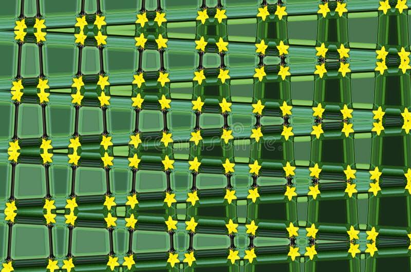 Fondo verde abstracto combinado con las pequeñas flores amarillas imagenes de archivo