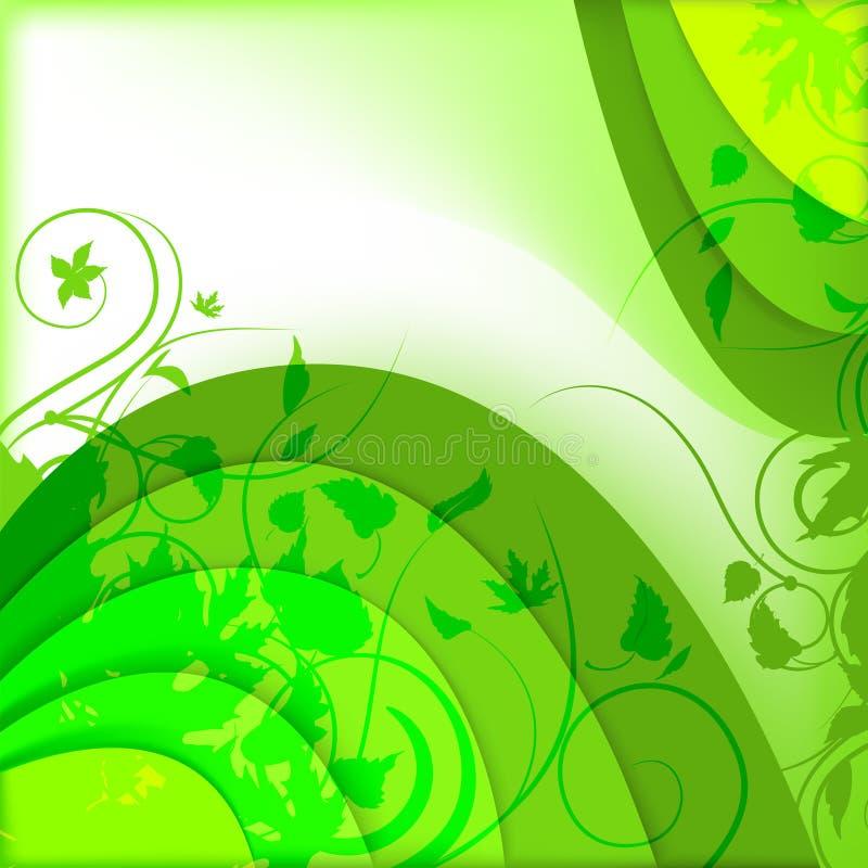 Fondo verde abstracto con las plantas ilustración del vector