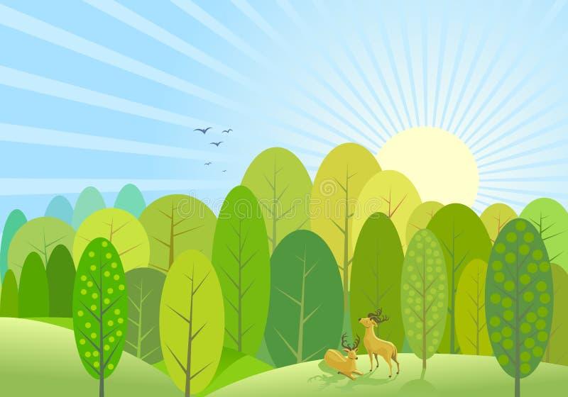 Fondo verde abstracto del bosque de los árboles ilustración del vector