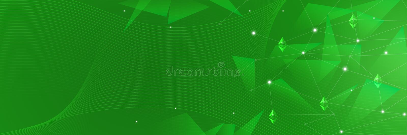 Fondo verde abstracto para el cryptocurrency, blockchain, ethereum, redes ilustración del vector
