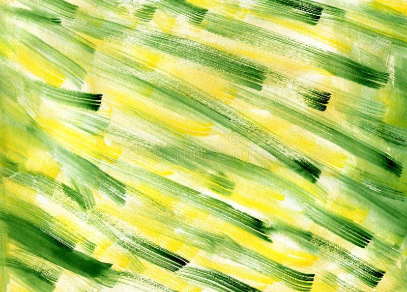 Fondo verde amarillo de la textura del extracto de la acuarela Ejemplo de inclinación dibujado mano del grunge de los movimientos imagenes de archivo