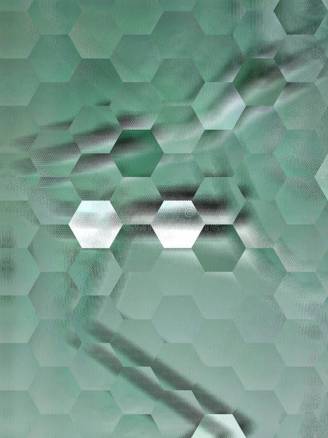 Fondo verde astratto con il modello geometrico, illustrazione digitale, modello, la geometria, arte della decorazione fotografia stock libera da diritti