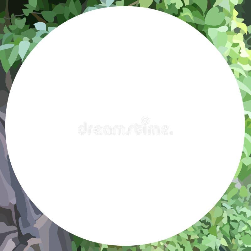 Fondo verde astratto del fogliame con l'insegna bianca rotonda dello spazio in bianco illustrazione vettoriale