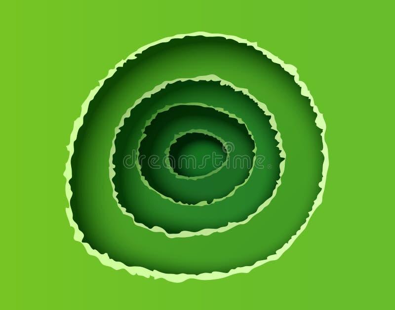 Fondo verde astratto in tagliato in di stile della carta Carta lacerata nelle forme rotonde con ombra Illustrazione della carta d illustrazione vettoriale
