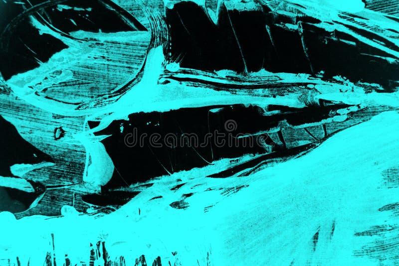 Fondo verde azul negro de los movimientos de la brocha foto de archivo libre de regalías