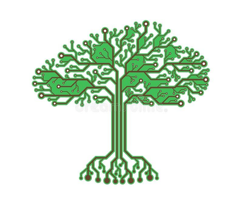 Fondo verde binario elettronico astratto dell'albero di Digital illustrazione di stock