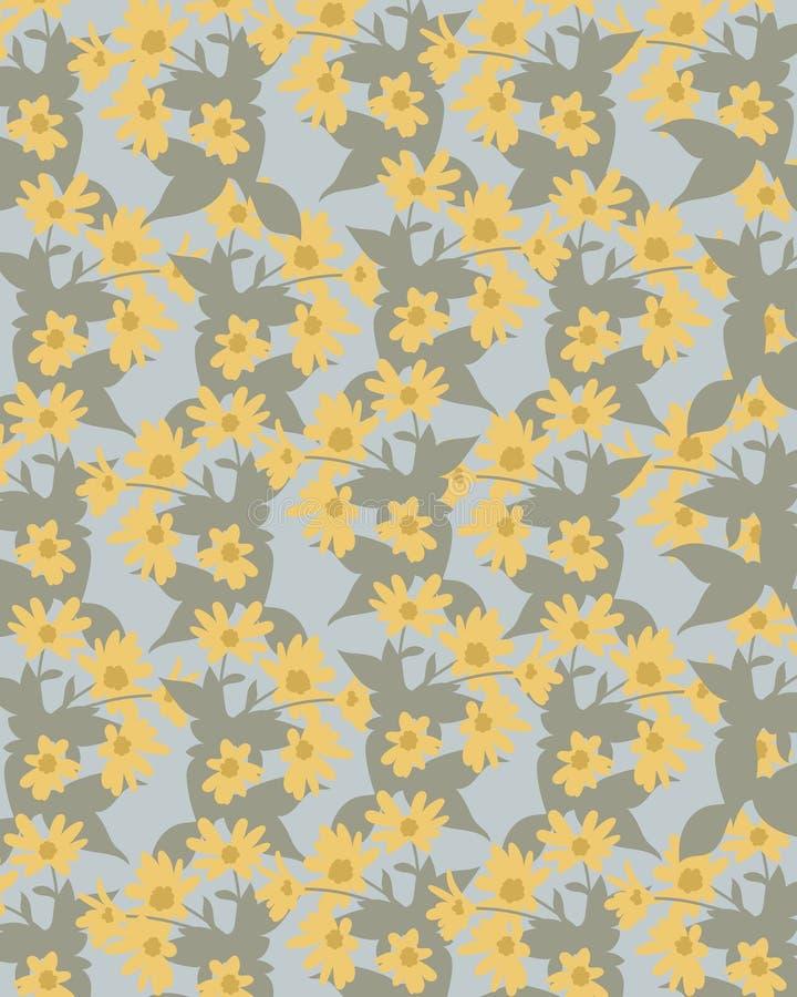 fondo verde blu con i fiori gialli immagine stock