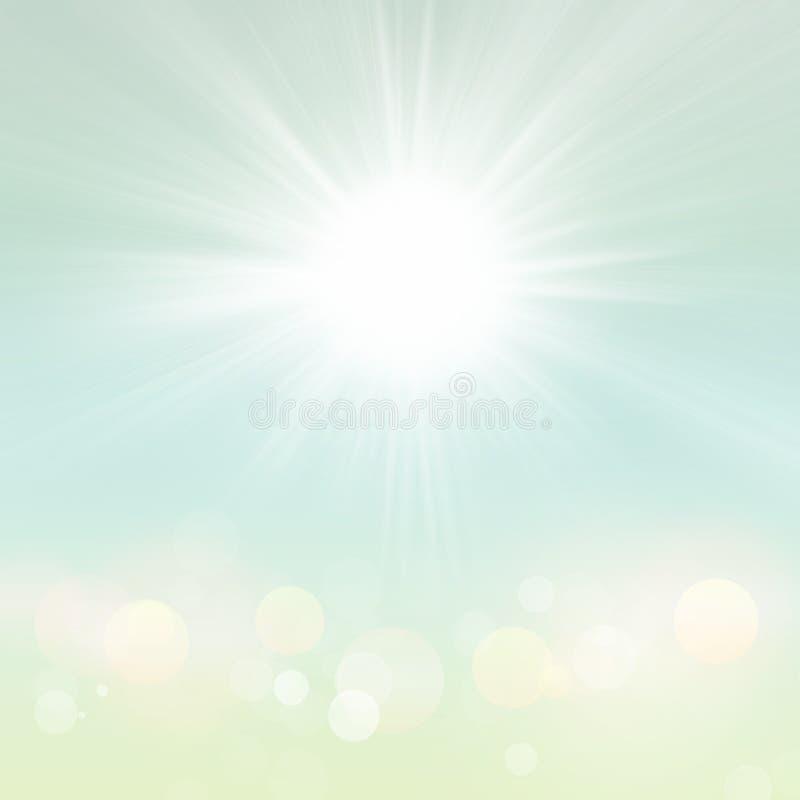 Fondo verde borroso de la naturaleza del verano de la primavera con los rayos de Sun libre illustration