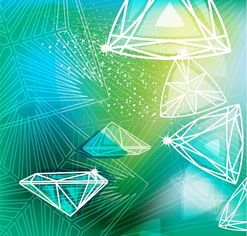 Fondo verde con cortar linear de los diamantes stock de ilustración