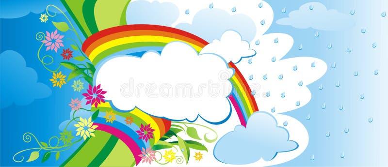 Fondo verde con el arco iris. ilustración del vector