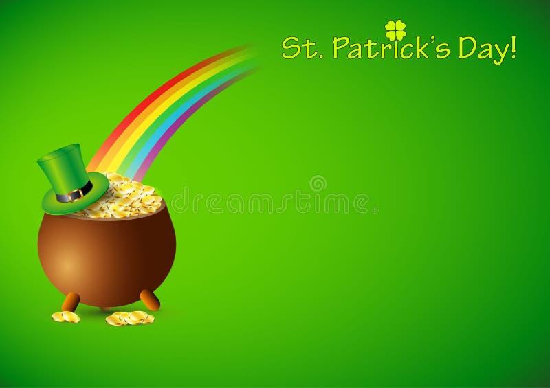 Fondo verde con el pote por completo de las monedas de oro para el día de St Patrick ilustración del vector