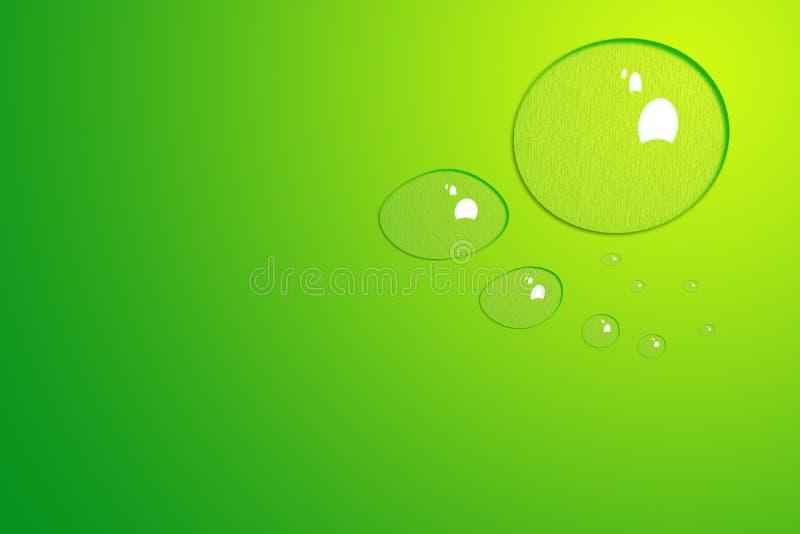 Fondo verde con gotas del agua foto de archivo
