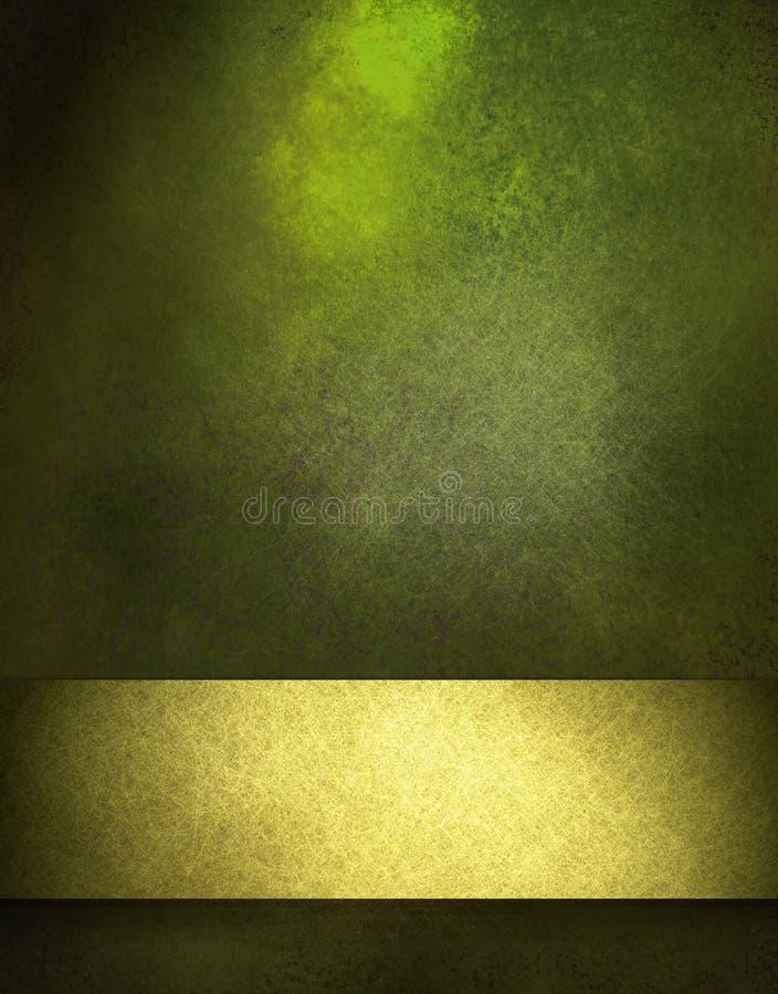 Fondo verde con la cinta del oro libre illustration