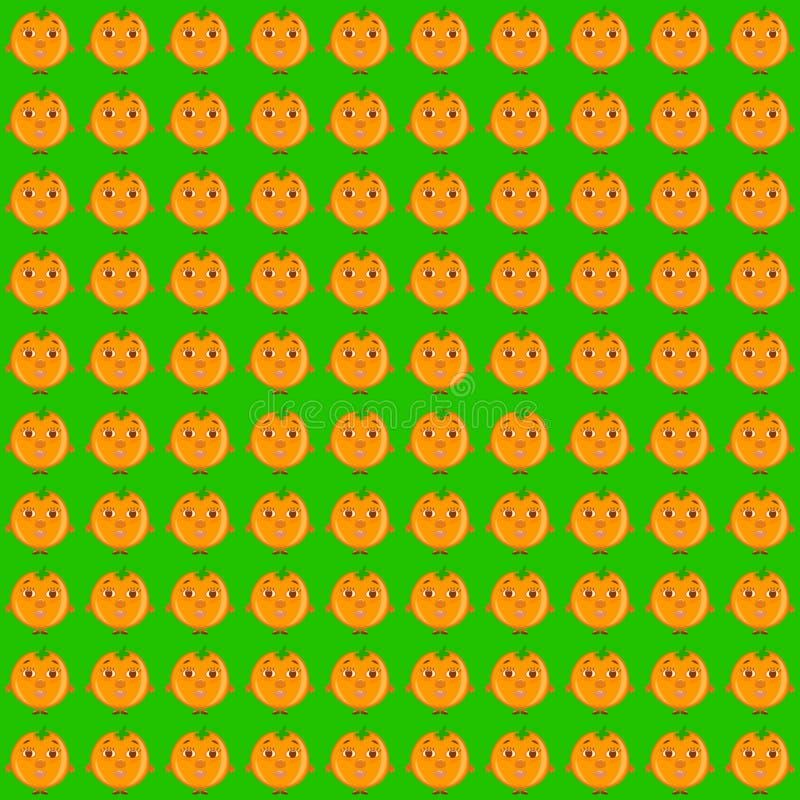 Fondo verde con le arance o i mandarini divertenti illustrazione di stock