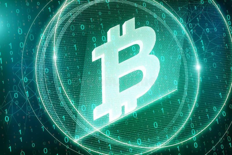 Fondo verde creativo del bitcoin illustrazione vettoriale