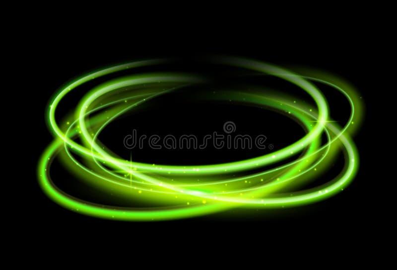 Fondo verde de efecto luminoso del círculo Línea mágica rastro del resplandor del remolino Movimiento del efecto luminoso ilustración del vector