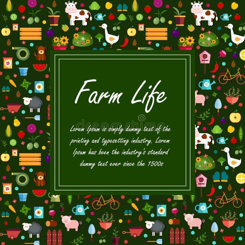 Fondo verde de la bandera de las verduras y de las frutas ilustración del vector