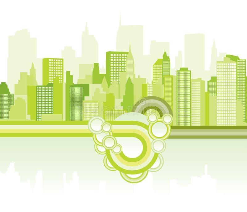 Fondo verde de la ciudad stock de ilustración