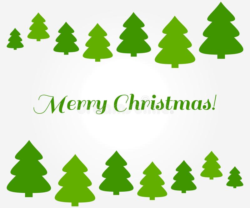 Fondo verde de la frontera de los árboles de navidad stock de ilustración