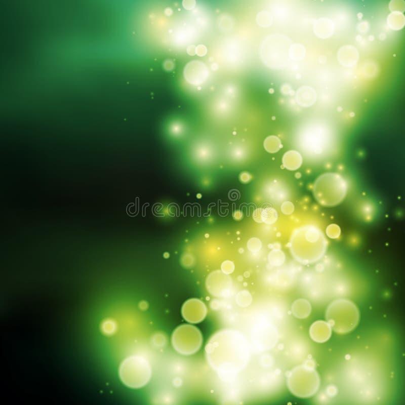 Fondo verde de la luz del bokeh ilustración del vector