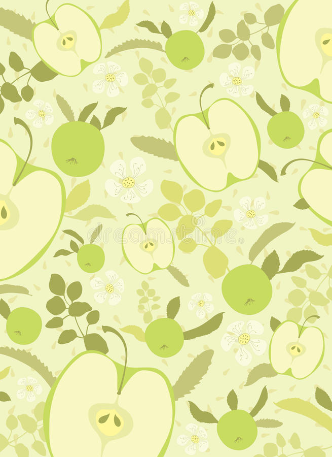 Fondo verde de la manzana stock de ilustración