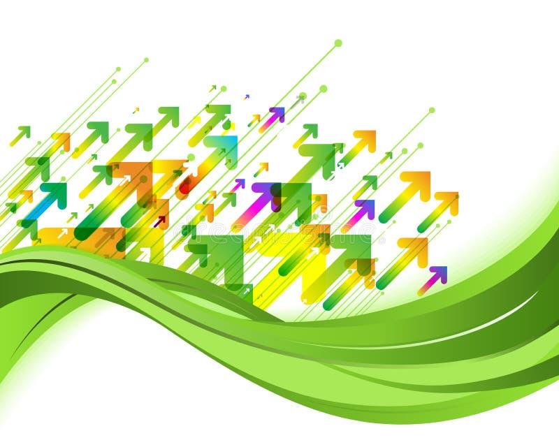 Fondo verde de la naturaleza Ejemplo del concepto de Eco con las flechas libre illustration