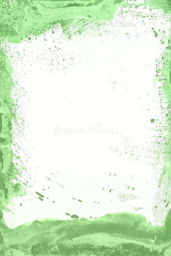 Fondo verde de la pintura de la acuarela Mano mágica del arte dibujada fotos de archivo