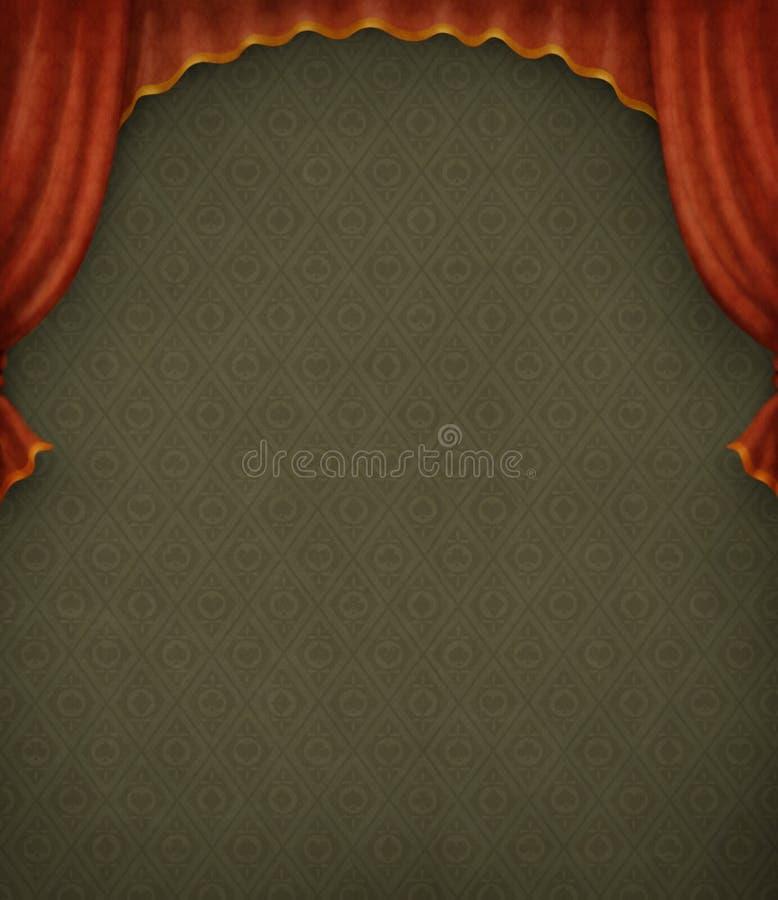 Fondo verde de la vendimia con las cortinas rojas. ilustración del vector