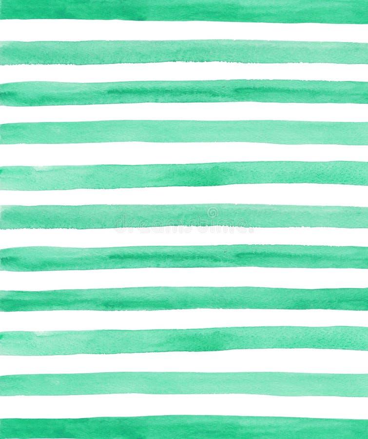 Fondo verde de las rayas de la acuarela imágenes de archivo libres de regalías