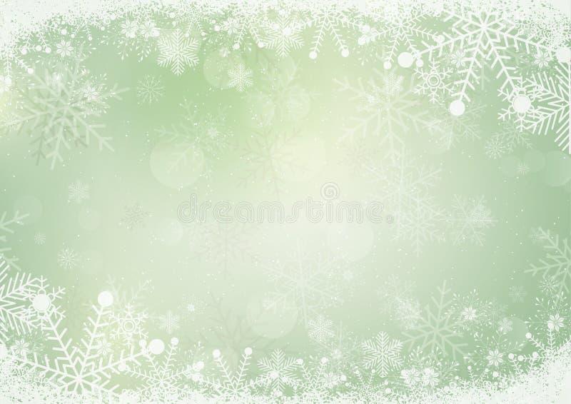 Fondo verde de papel del día de fiesta de la nieve del invierno libre illustration