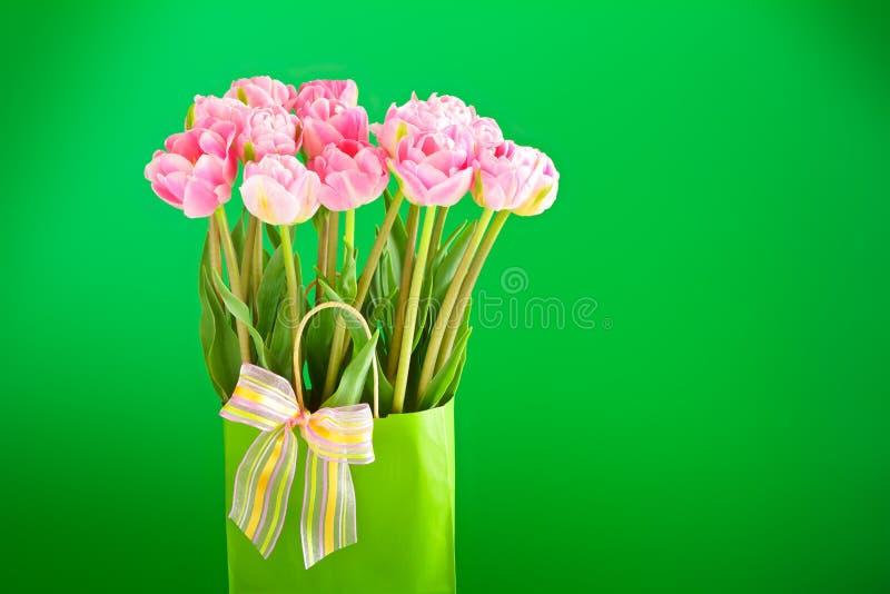 Fondo verde dei fiori rosa del tulipano fotografia stock libera da diritti