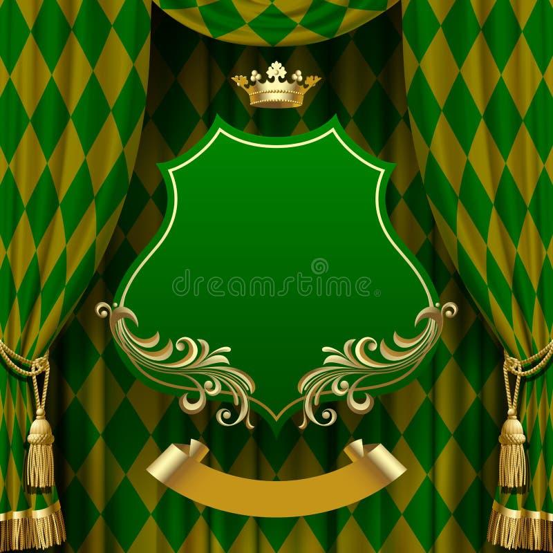 Fondo verde dei romboidi con un barocco decorativo sospeso illustrazione di stock
