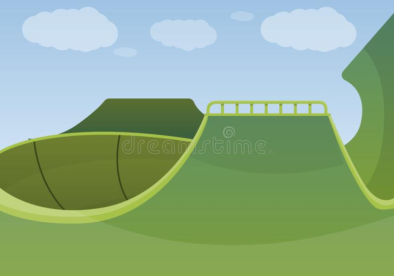Fondo verde del concepto del parque del patín, estilo de la historieta ilustración del vector