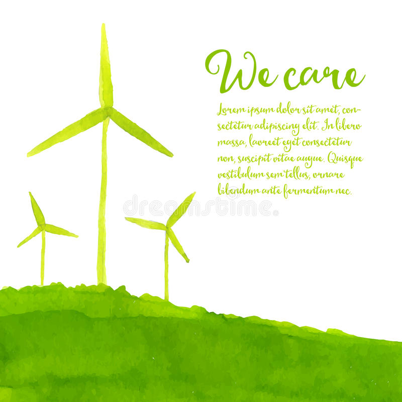 Fondo verde del eco con el viento pintado a mano libre illustration