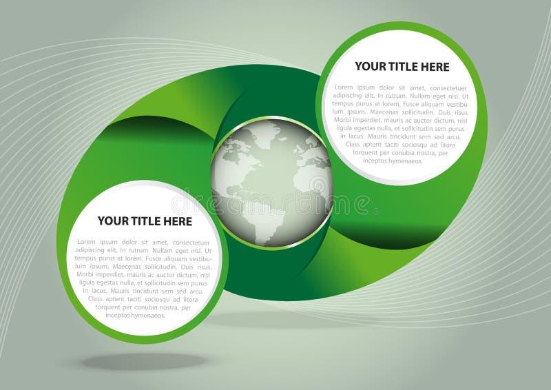 Fondo verde del extracto del vector con el globo ilustración del vector