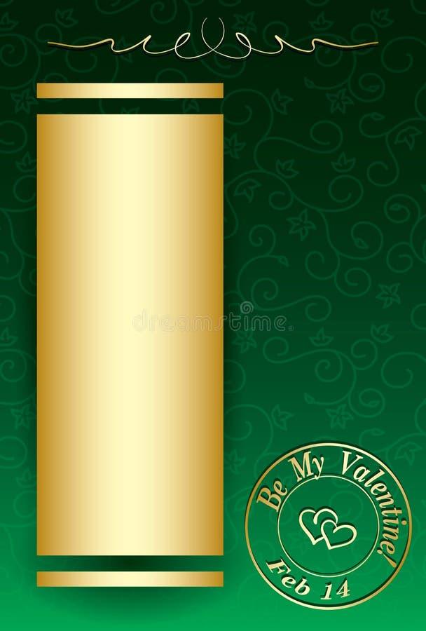 Fondo verde del vector con las decoraciones de oro para la tarjeta del día de San Valentín DA stock de ilustración