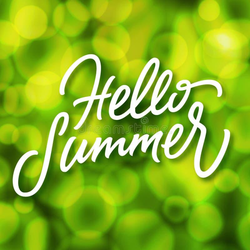 Fondo verde del verano con efecto del bokeh y letras hechas a mano ilustración del vector