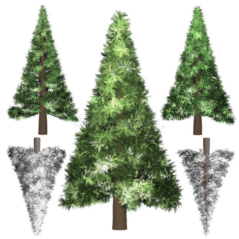 Fondo verde dell'albero di Forrest Fondo bianco dell'isolato e archivio dello psd per gli strati scelti royalty illustrazione gratis