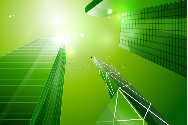 Fondo verde della città di affari di eco royalty illustrazione gratis