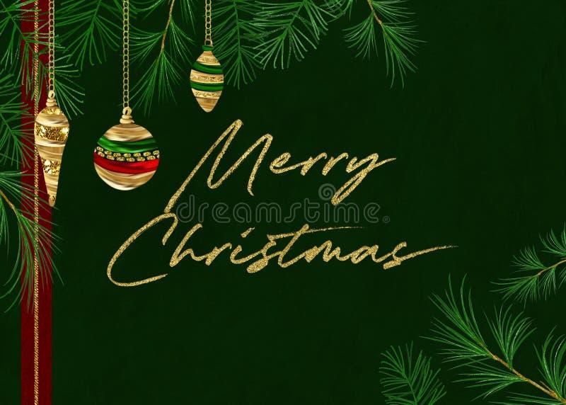 Fondo verde di Buon Natale del pino illustrazione vettoriale