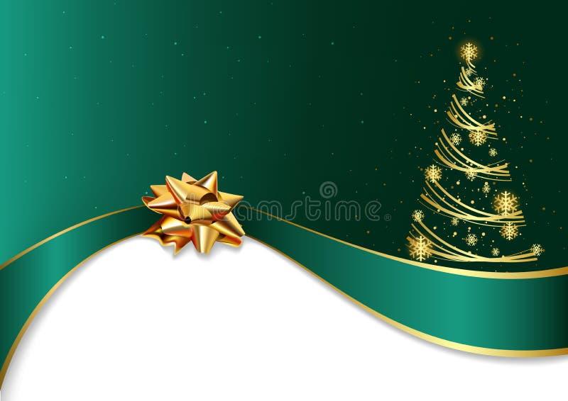 Fondo verde di Natale con l'arco e l'albero dorati illustrazione vettoriale
