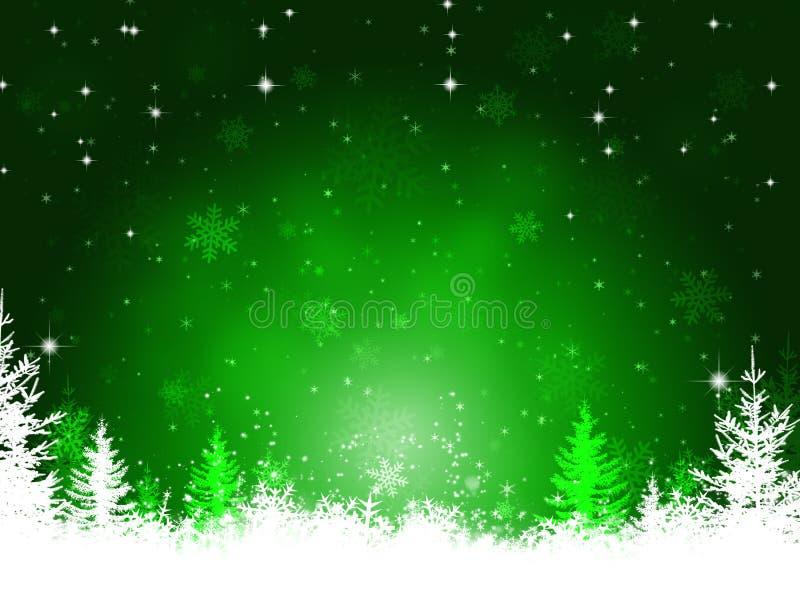 Fondo verde di Natale di inverno illustrazione di stock