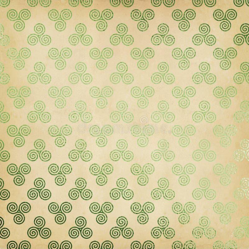 Fondo verde di Triskele del celtico fotografie stock
