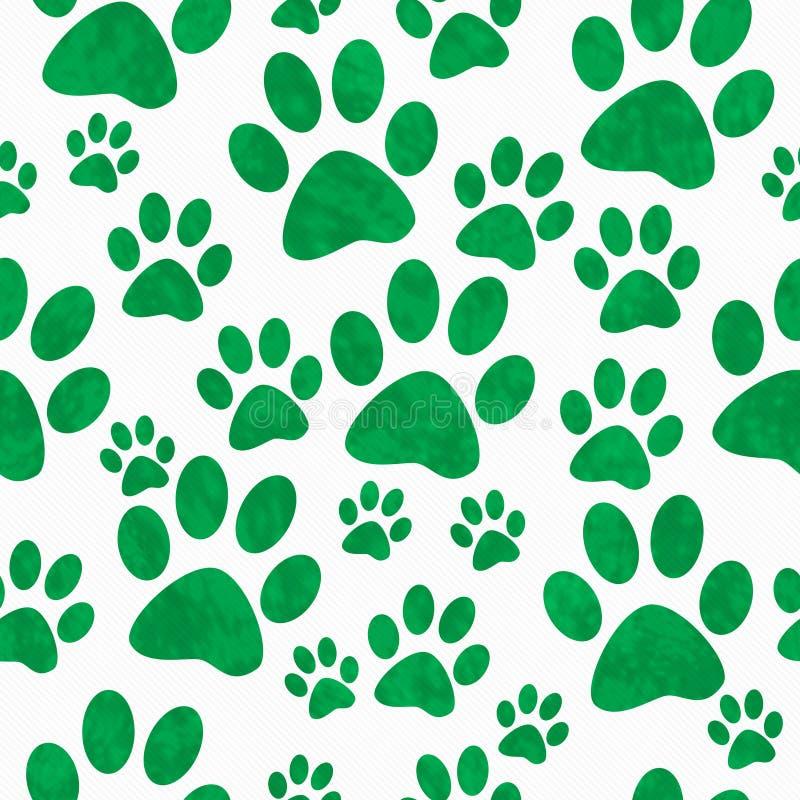 Fondo verde e bianco di Paw Prints Tile Pattern Repeat del cane fotografie stock