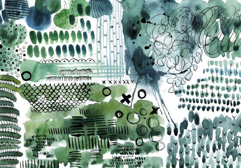 Fondo verde e blu dell'estratto dell'acquerello illustrazione vettoriale